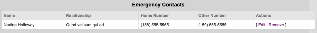 Emergency Contact Example